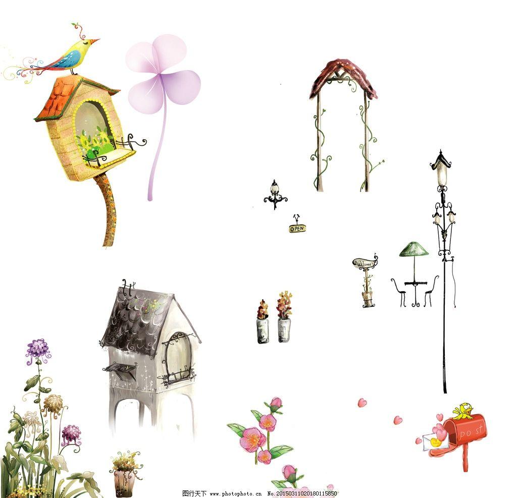 花朵 鸟窝 信箱图片,卡通素材 可爱 手绘素材 儿童-图