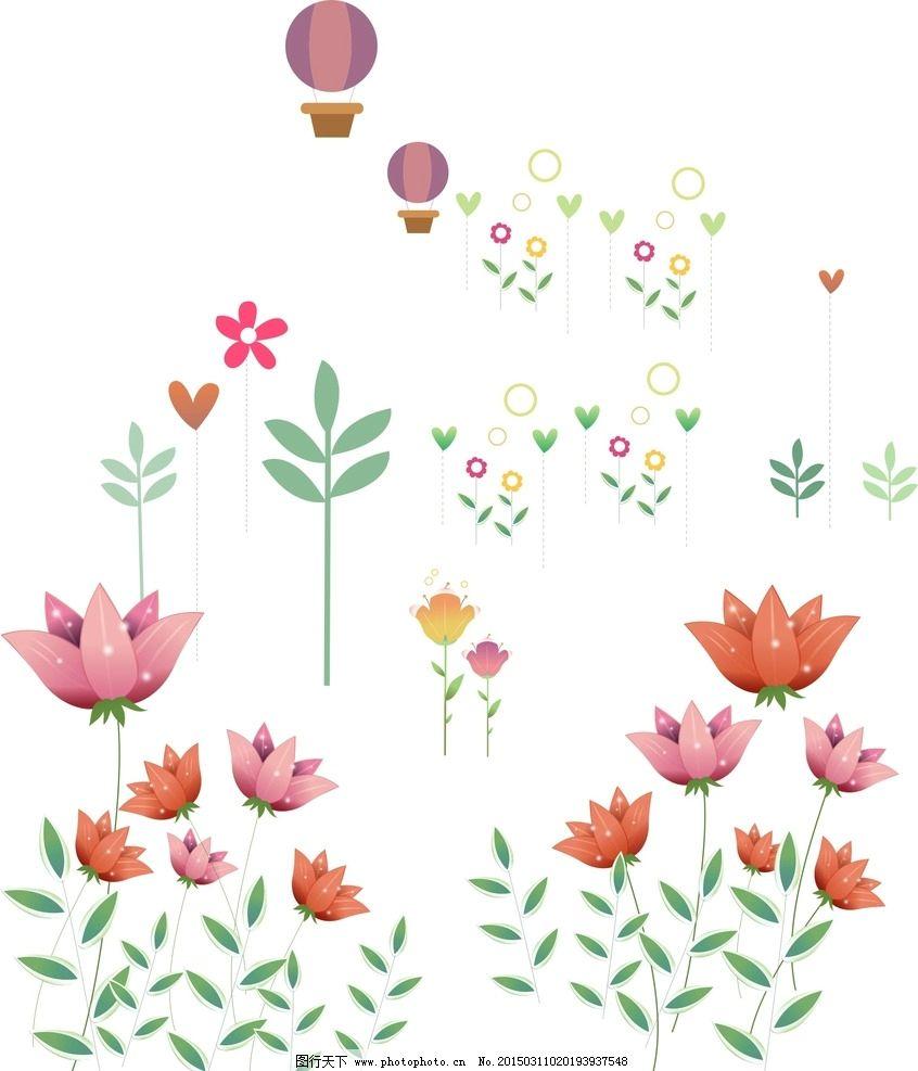 卡通花朵素材图片,绘花朵素材 手绘插图 手绘素材 -图