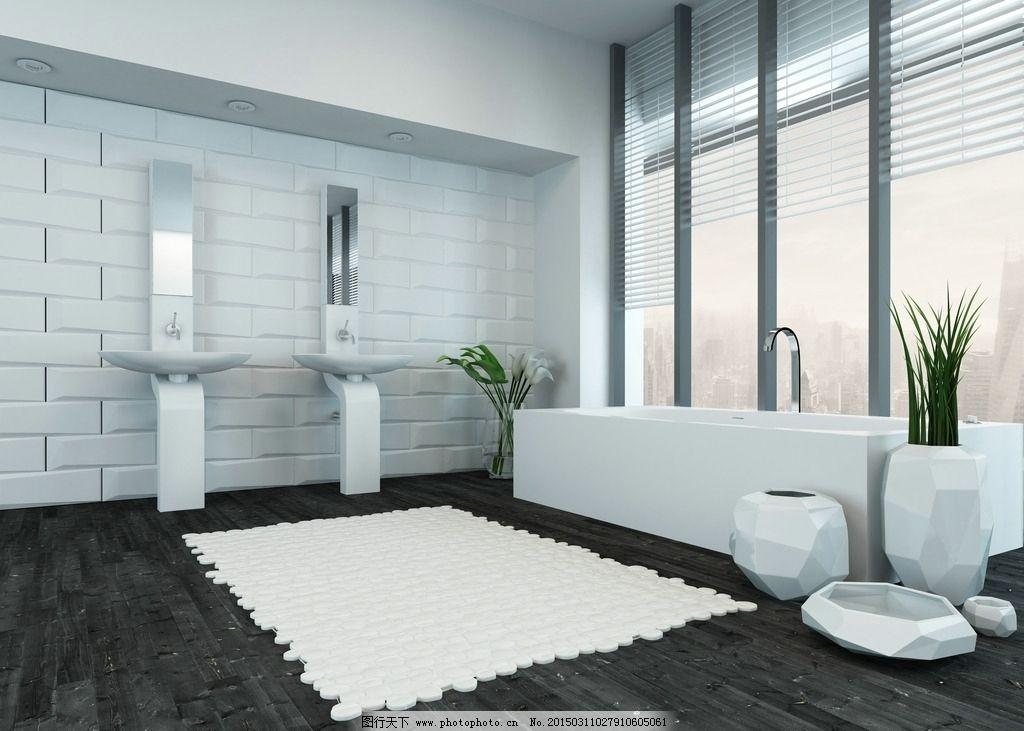 浴室 洗水台 瓷砖 木地板 卫浴 浴缸 室内设计 设计 环境设计 室内
