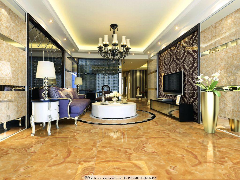 欧式豪华客厅免费下载 3d效果图 灯具模型 沙发茶几 室内设计 3d效果