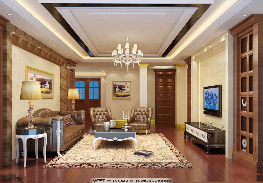 欧式时尚客厅装修免费下载 3d效果图 别墅客厅 灯具模型 沙发茶几图片