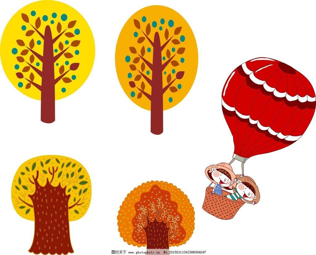 卡通树木素材 梦幻树木素材 绿色 手绘 插画 手绘插画 热气球 卡通热