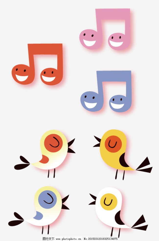 卡通音符 小鸟图片