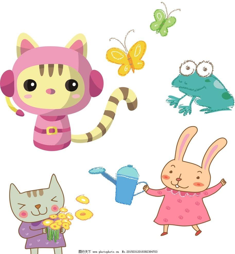 卡通猫咪 卡通兔子图片,通素材 可爱 手绘素材 儿童