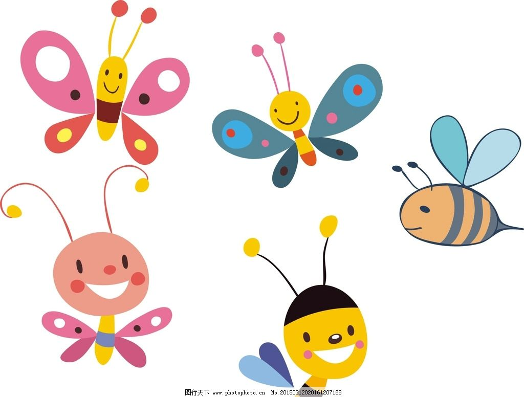 蝴蝶 卡通蝴蝶 矢量蝴蝶 蝴蝶素材 手绘蝴蝶 可爱蝴蝶 蜜蜂 卡通蜜蜂