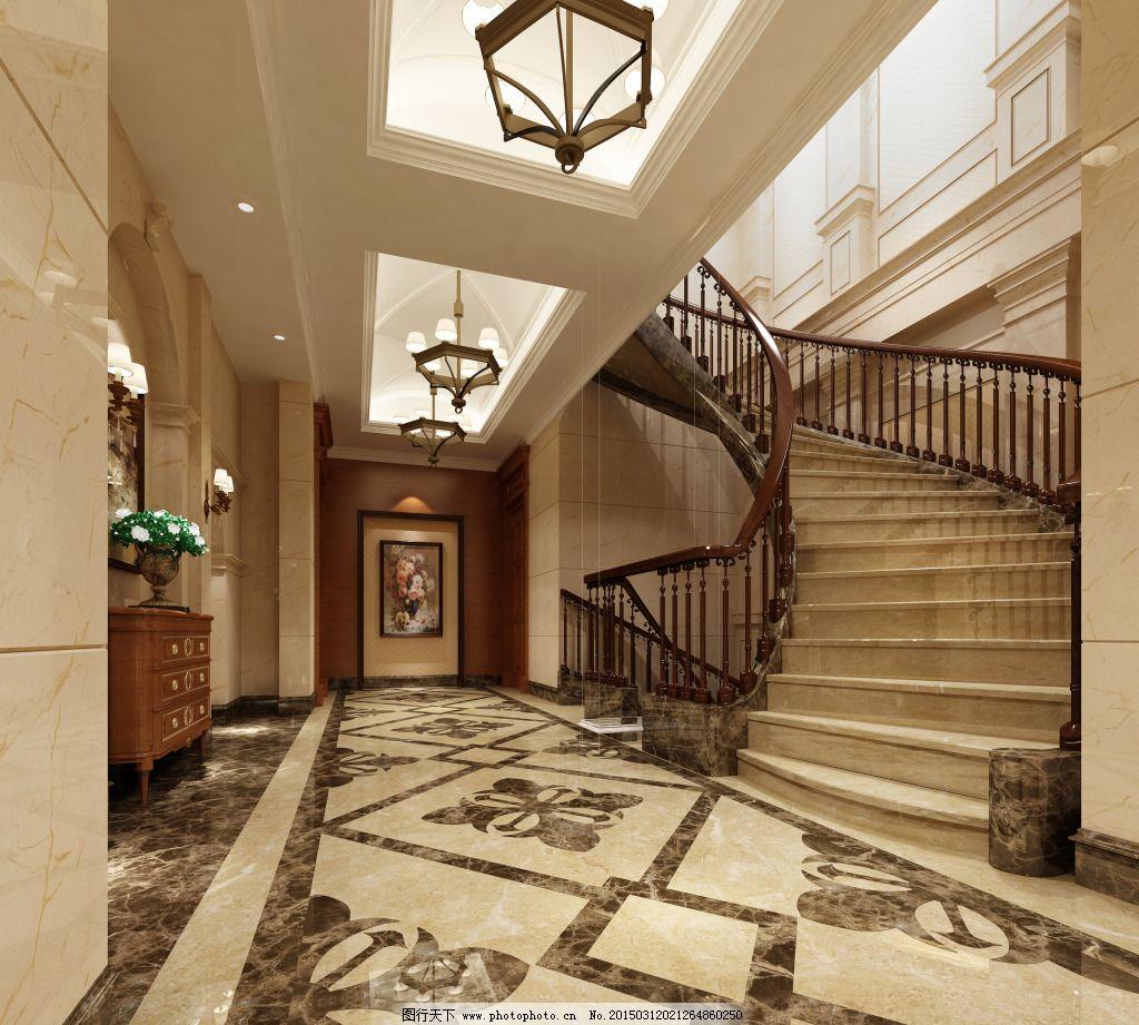 欧式家居楼梯免费下载 地面拼花 家居 楼梯 模型 玄关 模型 家居 玄关图片
