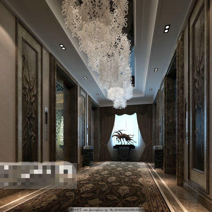 电梯过道3d模型素材 室内模型 室内设计 室内装饰 室内装饰设计