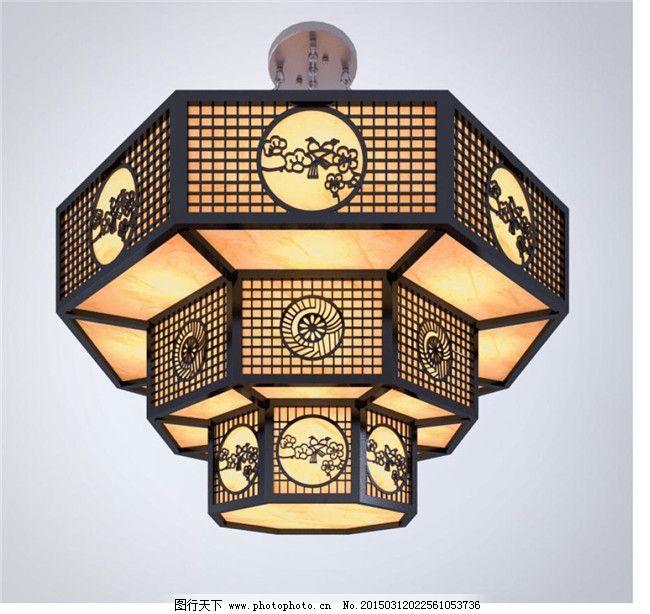 中式灯设计3d模型素材图片