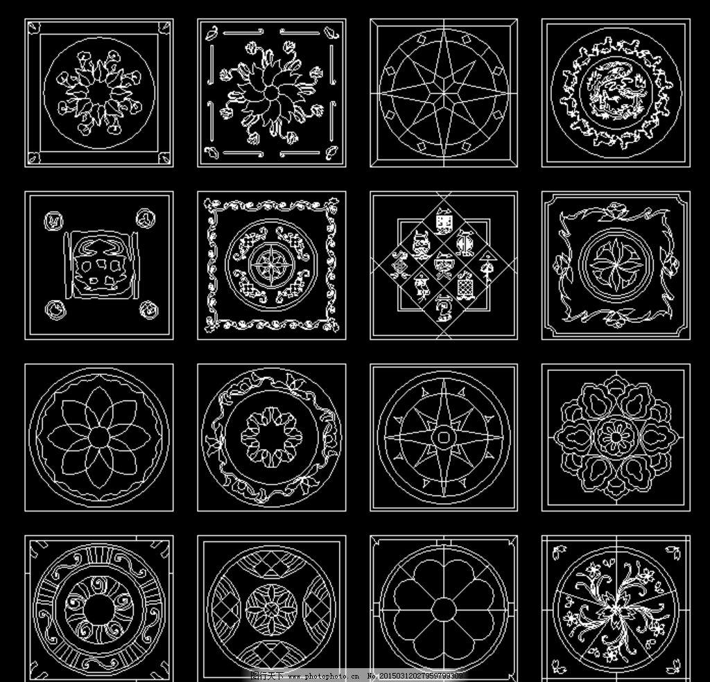 正方形 cad 水刀 拼花    图库 水刀拼花 设计 环境设计 室内设计