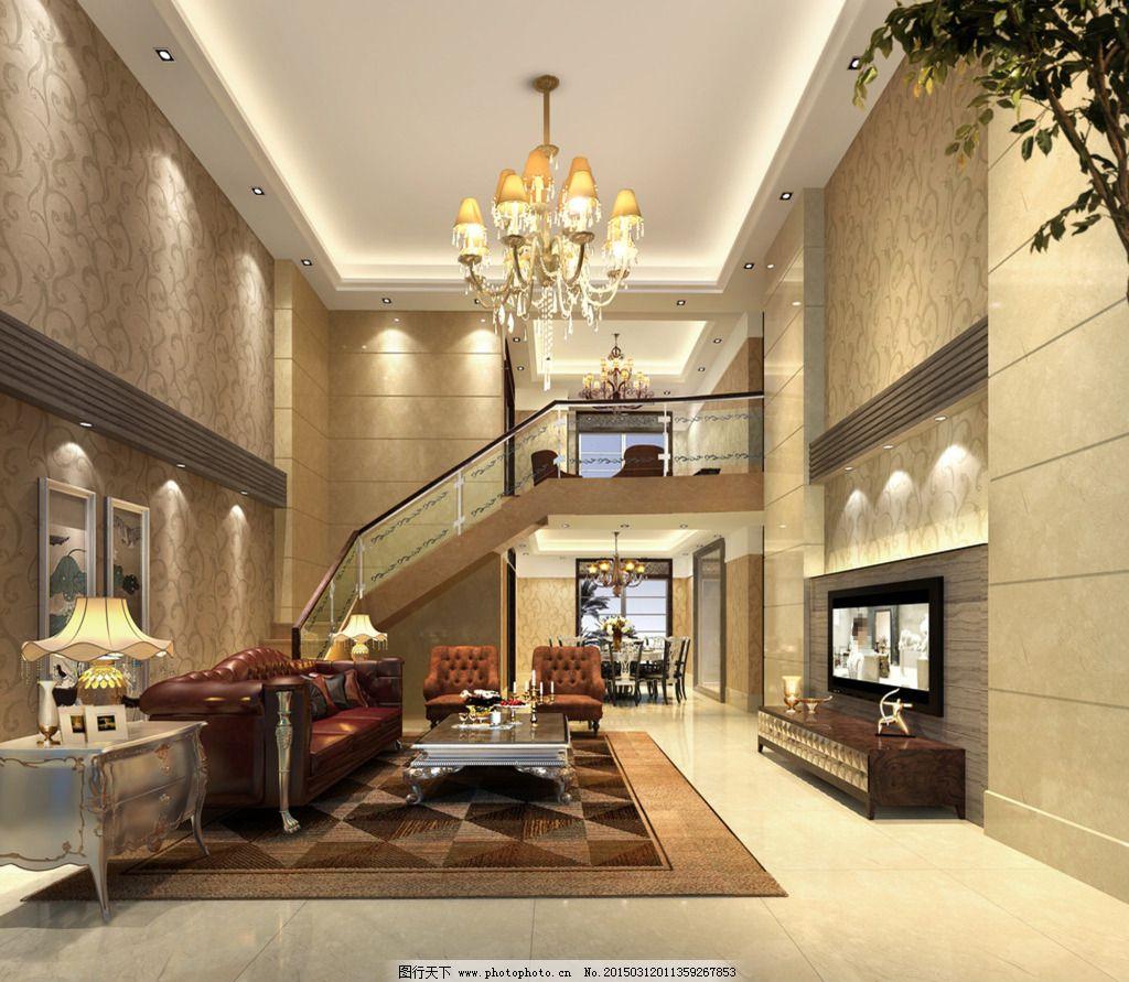 欧式别墅客厅免费下载 3d效果图 灯具模型 电视机 家具模型 室内设计
