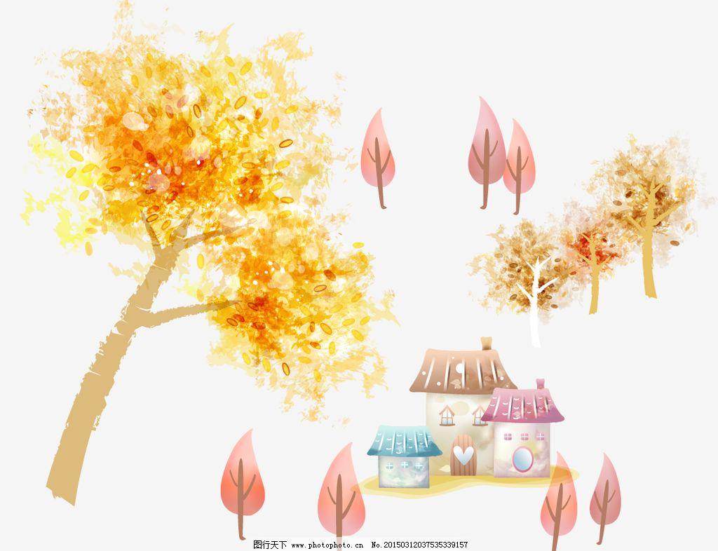 梦幻树木 房子图片