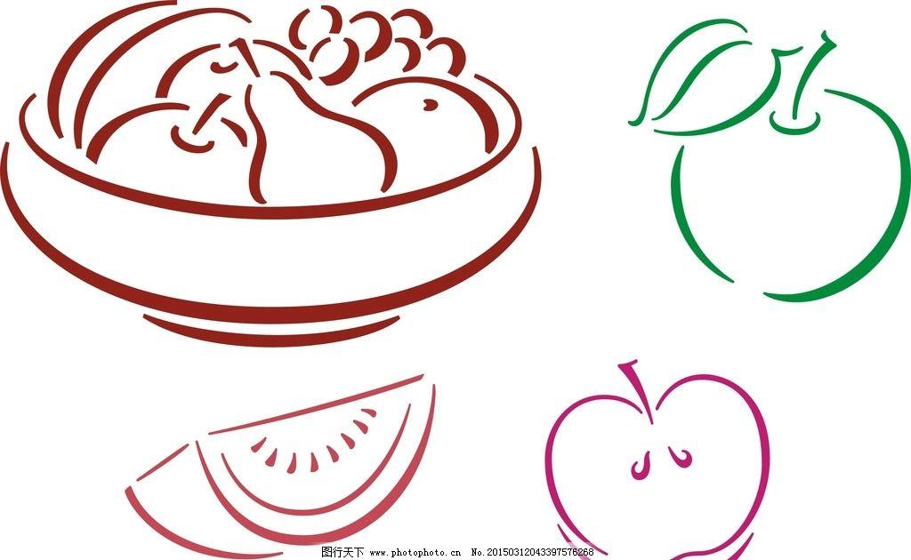 矢量水果盘 可爱 手绘素材 卡通装饰素材 矢量图 抽象设计 时尚