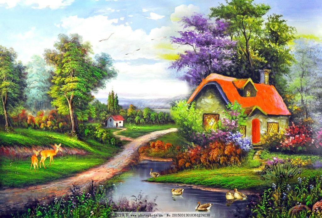 风景素材 风景矢量素材 森林 小河流水 海边风景画 村庄风景画 室内