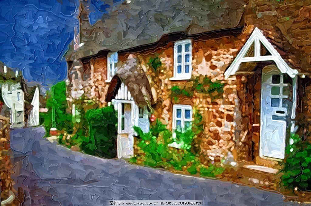 小镇抽象画 装饰画图片