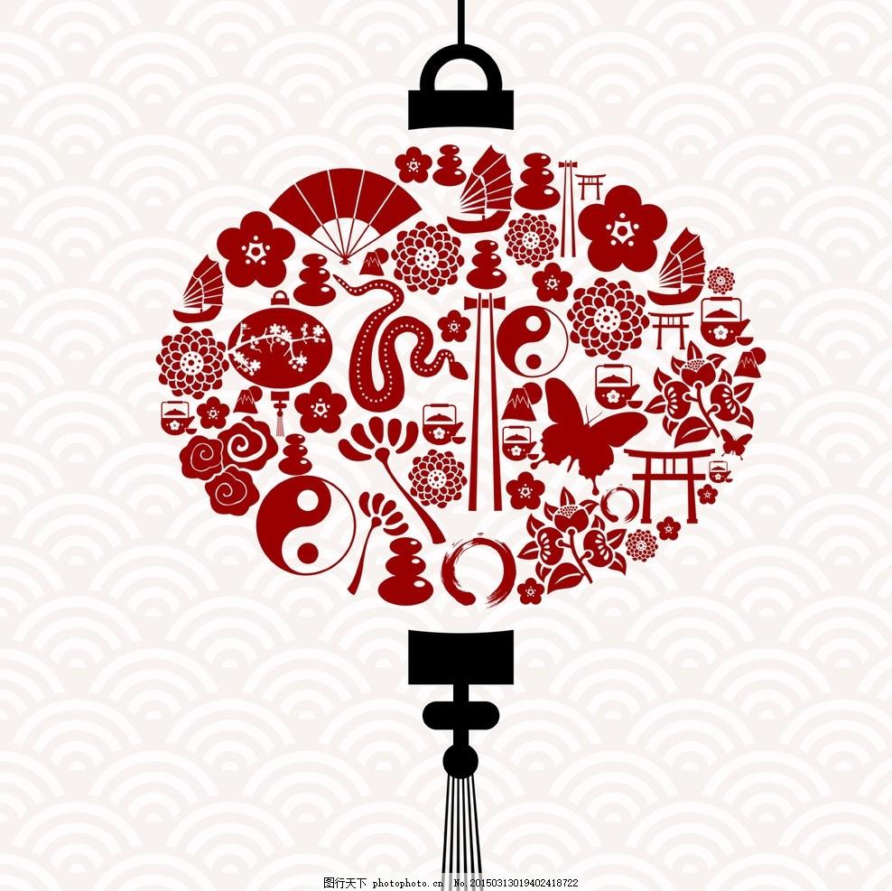 中国元素 红灯笼 中国结 中国龙 中国年 手绘 春节 新年 元旦