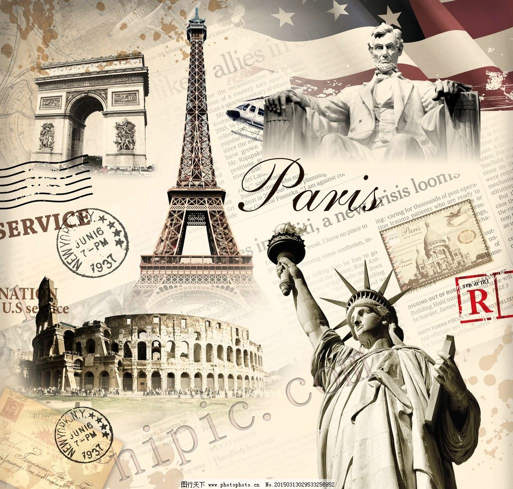 艺术画 凯旋门 巴黎铁塔 罗马 自由女神 忒他 设计 广告设计 广告设计
