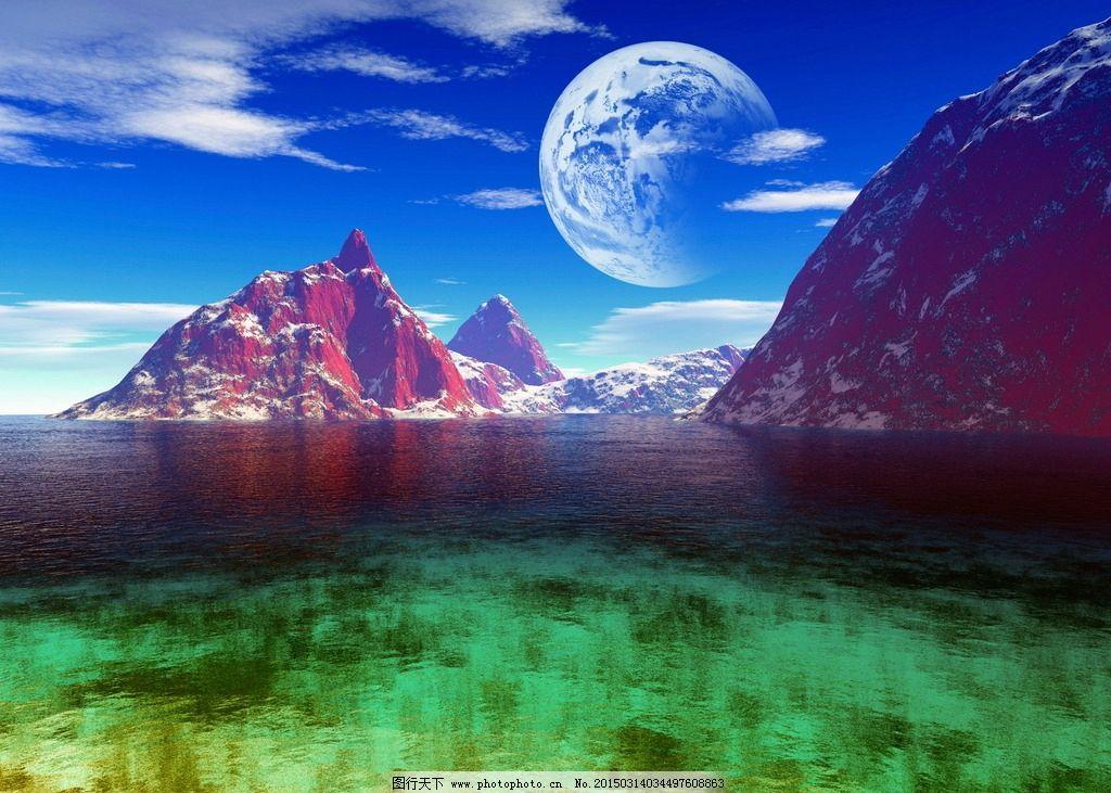 唯美 梦幻 艺术照 蓝天 白云 月球 月亮 天空 圆月 山水 远山 山峰