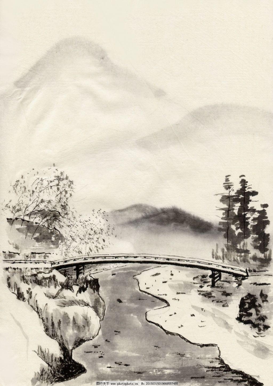 小桥流水 小桥流水免费下载 风景画 古色古香 山水 水墨画 文化艺术