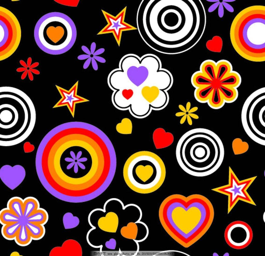 黑底彩色花纹图片