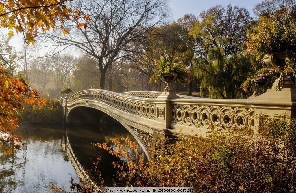 公园 小桥 流水 河流 树叶 树木 倒影 桌面 背景 壁纸 唯美