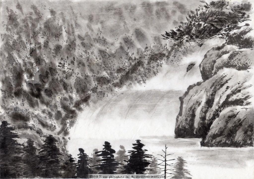 古风绘画免费下载 jpg 丛林 高山 古色古香 流水 山水画 树木 水墨图片