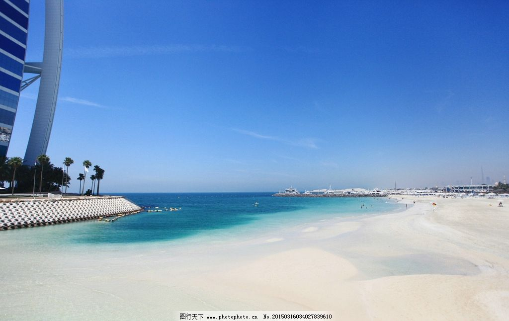 迪拜海滩 蓝天 大海 沙滩 海滩座椅 摄影 迪拜塔 棕榈岛 棕榈树