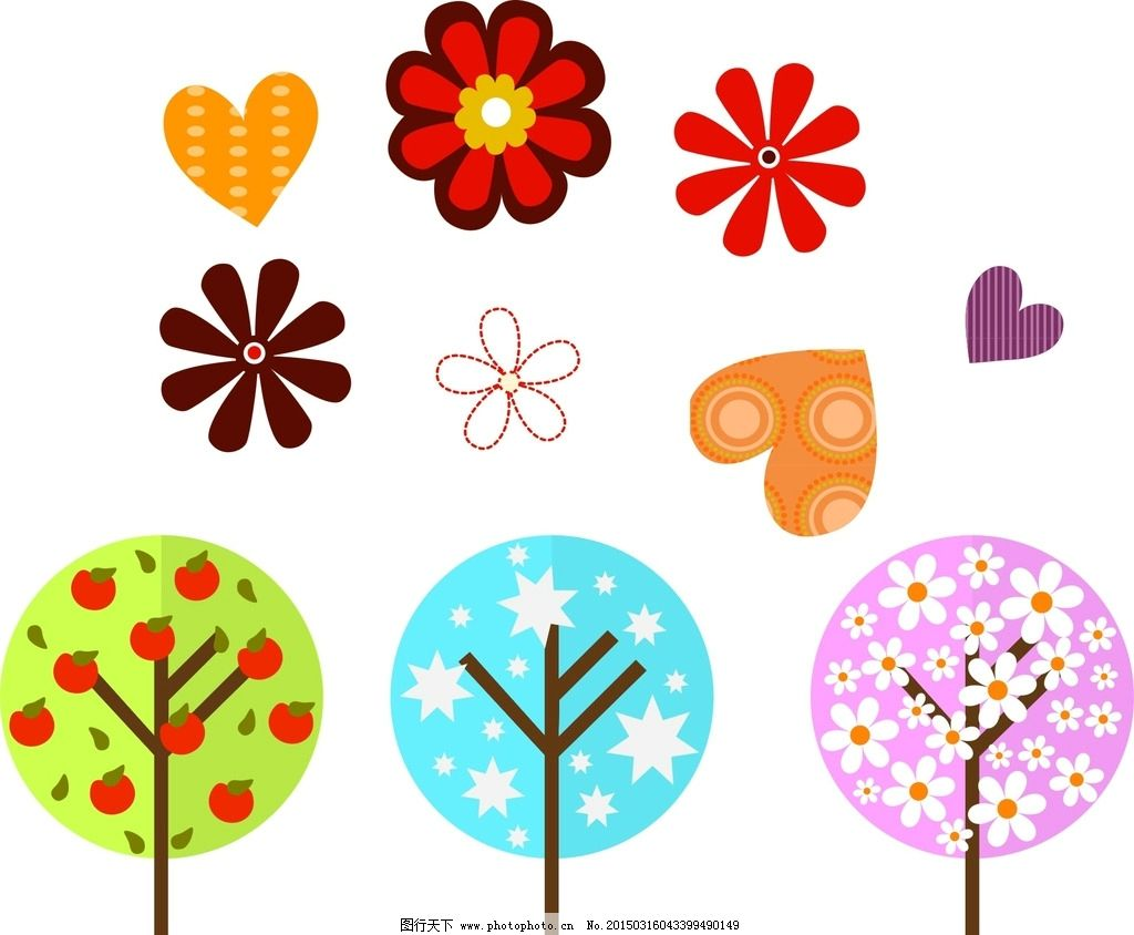 手绘树木 心形 花朵图片