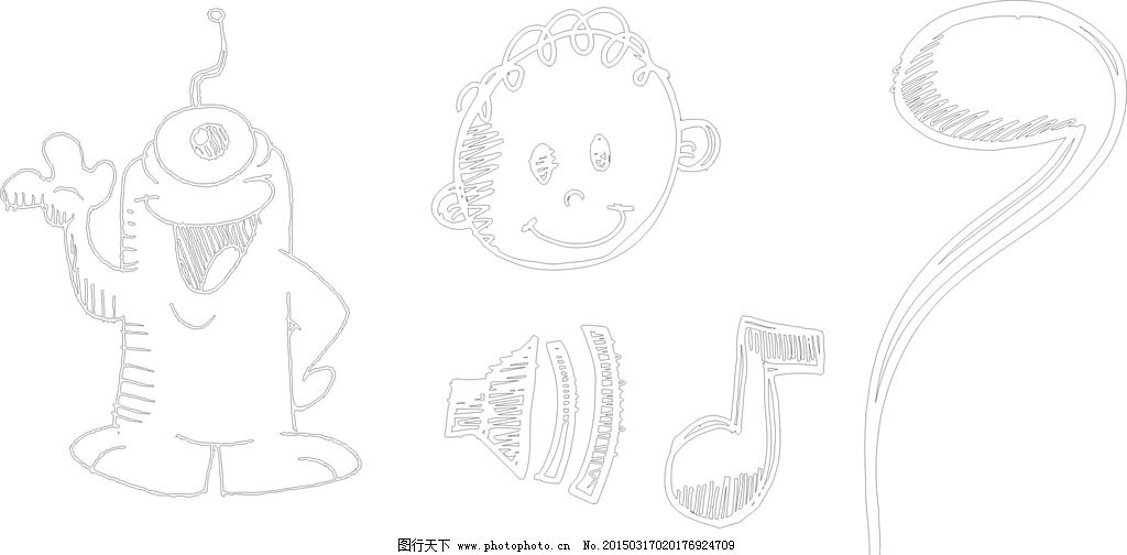 手绘小黄人 音符 可爱 手绘素材 卡通装饰素材 矢量图 矢量 抽象设计