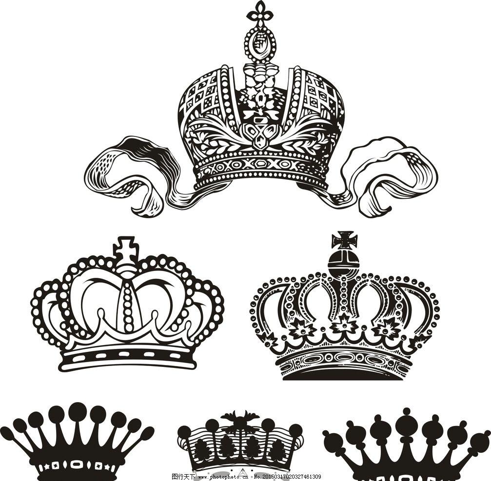 矢量皇冠素材 欧美盾牌矢量 韩国 黑白 潮流 时尚 设计 底纹边框 花边