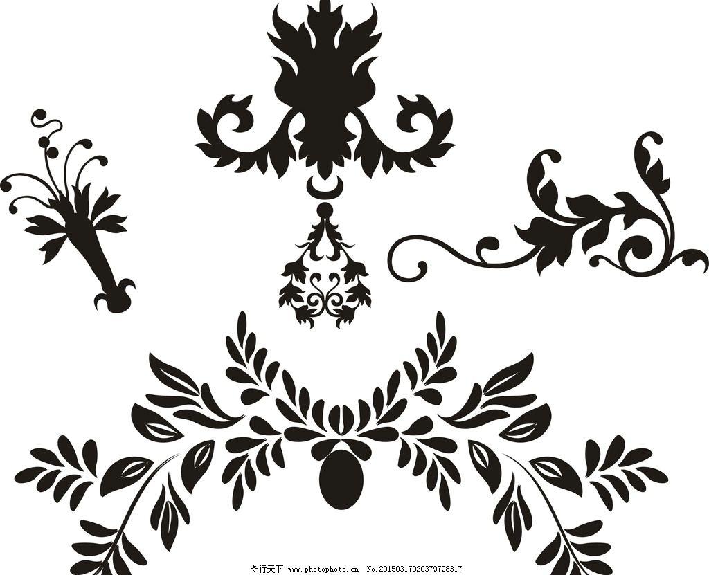 设计图库 底纹边框 花边花纹  矢量花边 花线 欧美花纹 古典花纹 黑色