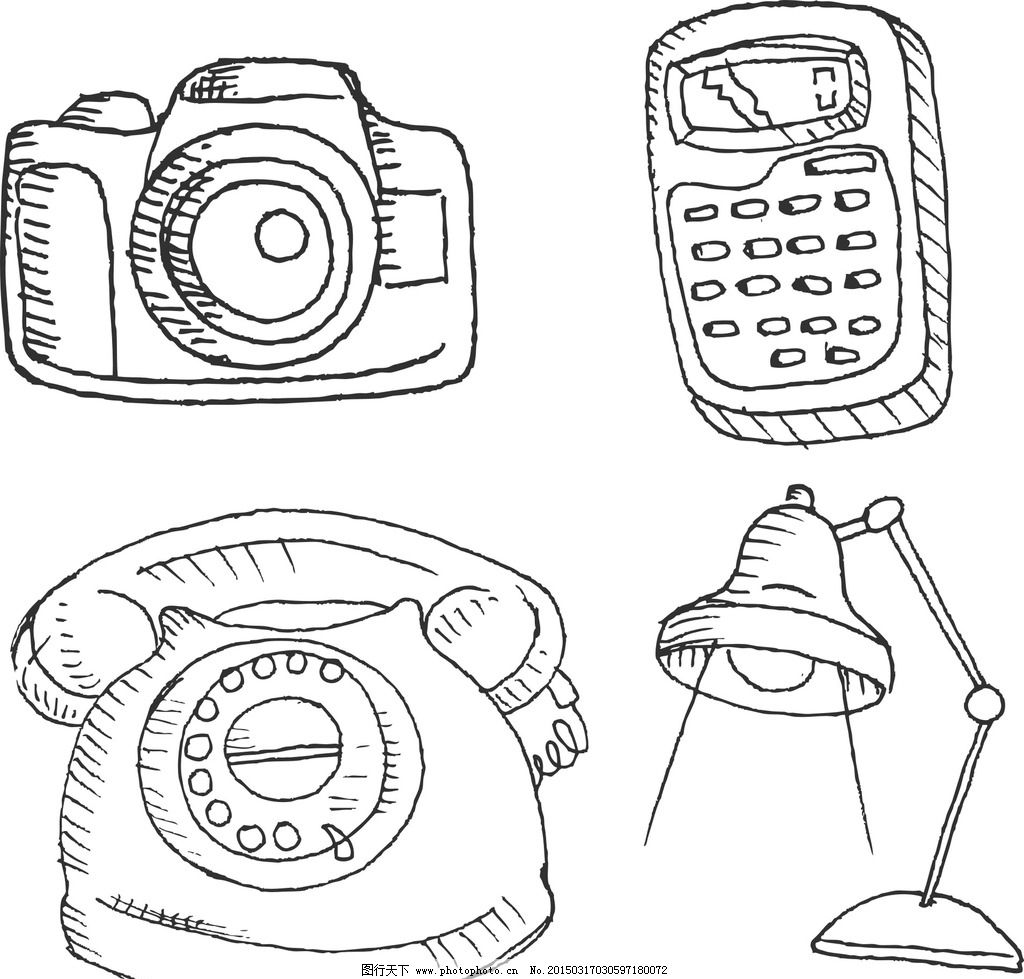 手绘相机 矢量相机 矢量台灯