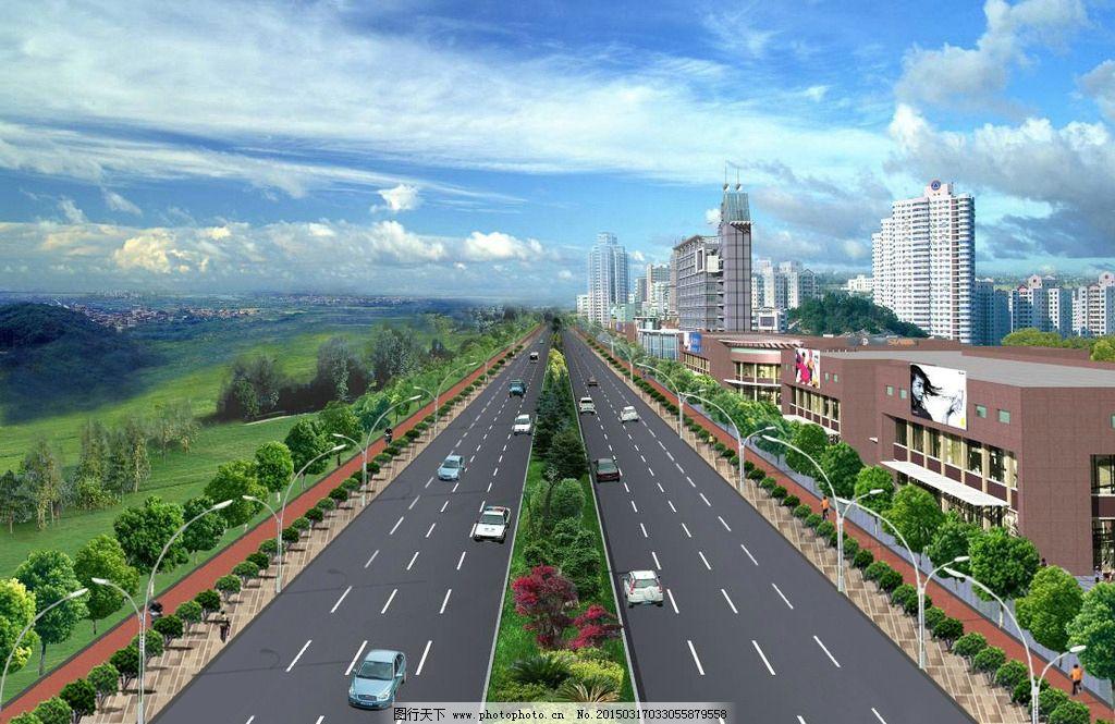 道路 断面        鸟瞰图 景观 设计 psd分层素材 psd分层素材 200dpi