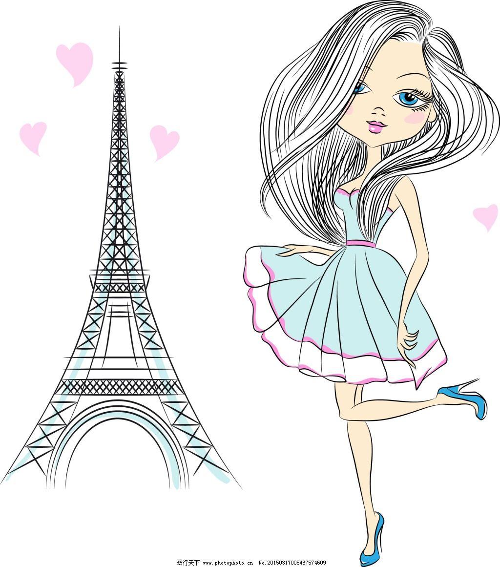 建筑 女生 手绘 铁塔 手绘 建筑 铁塔 女生 矢量图 矢量人物