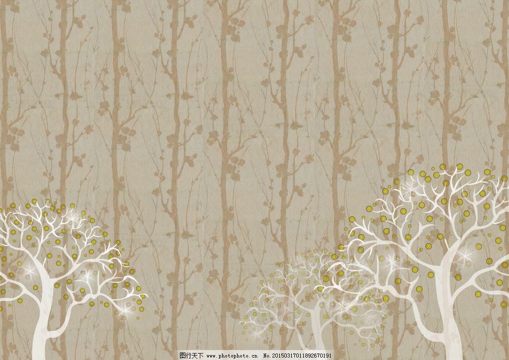 抽象树木背景墙纸设计_壁纸墙画_装饰素材_图行天下