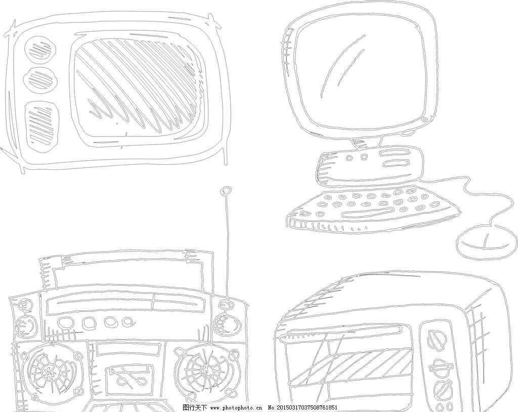 线条 矢量素材 卡通素材 素材 矢量线条 素描 手绘 简洁 手绘电子产品