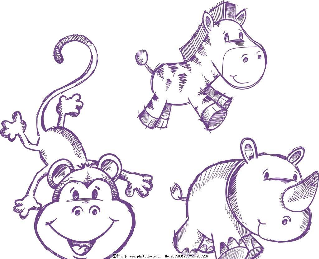 矢量线条 素描 手绘 简洁 动物 矢量动物 卡通动物 动物素材 手绘动物