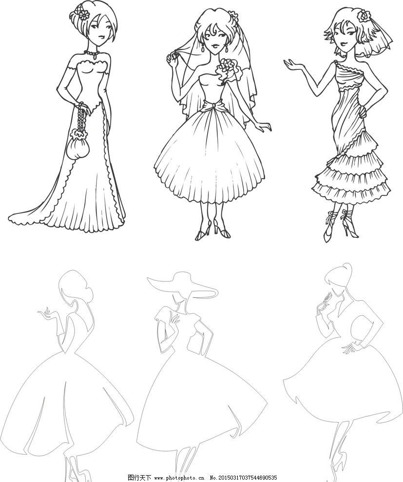 购物 手绘 剪影 矢量 时尚美女 模特 女模特 卡通女人 手绘女人 女孩