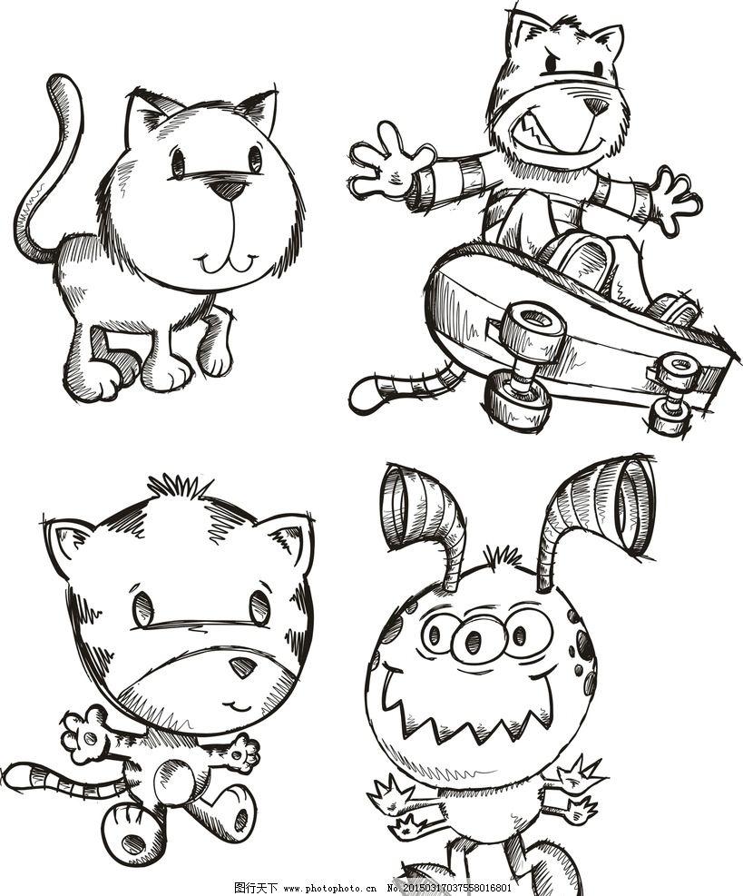 手绘小猫 小狗 可爱 手绘素材 卡通装饰素材 矢量图 抽象设计