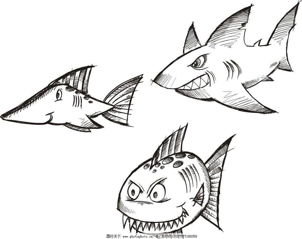 手绘鲨鱼 鲸鱼 可爱 手绘素材 卡通装饰素材 矢量图 抽象设计