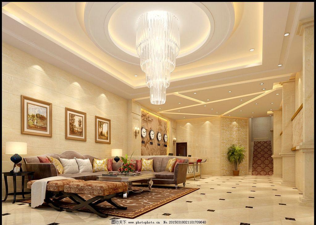 欧式 宾馆 大厅 3d        地面拼花 浮雕壁画 马赛克拼花 水晶吊灯图片