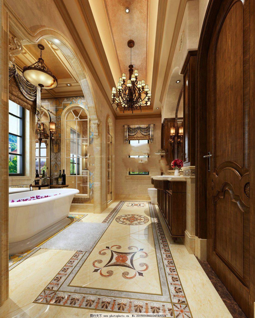 欧式卫生间免费下载 复古 模型 欧式        浴缸 装修 复古 模型