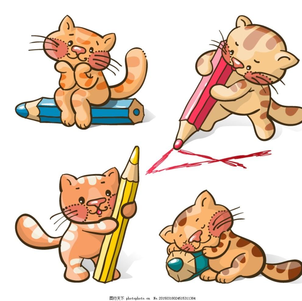 猫咪 铅笔 卡通 猫 小猫 笔 画画 彩笔 彩铅 绘画 美术 动物 宠物