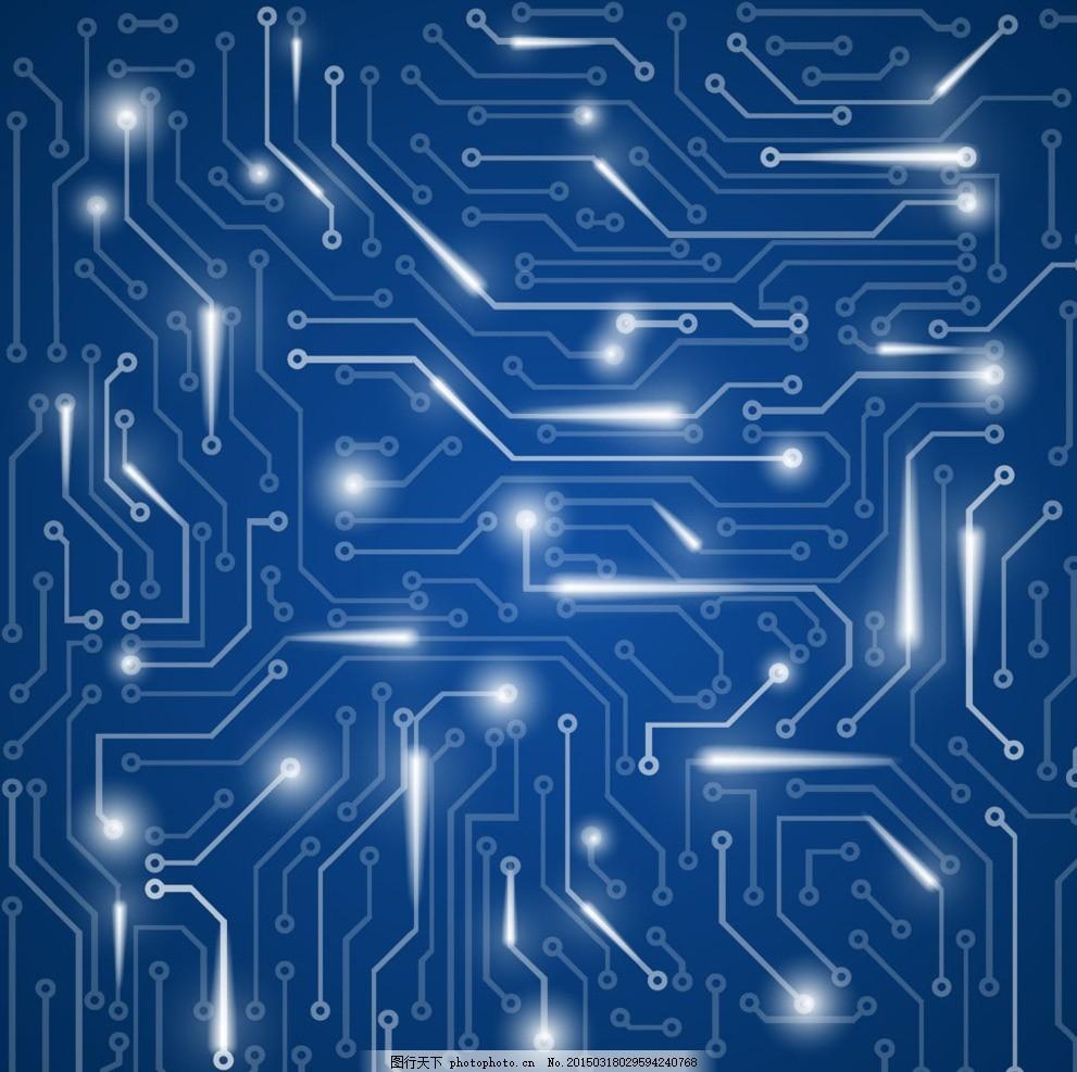 电子科幻背景 电路板 电子元件 线路 幻彩 光线 光圈 光晕 炫光
