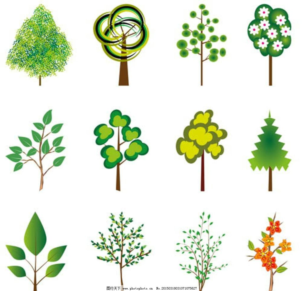 矢量图 创意设计 大树 树木 树叶 抽象 鸟笼 逼真 植物 椰树 eps01