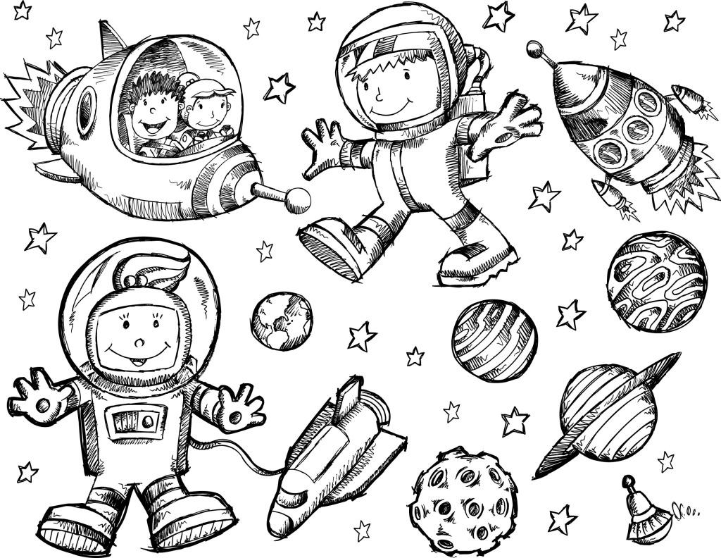 儿童画 黑白 人物 手绘 星球 人物 手绘 儿童画 黑白 太空员 星球