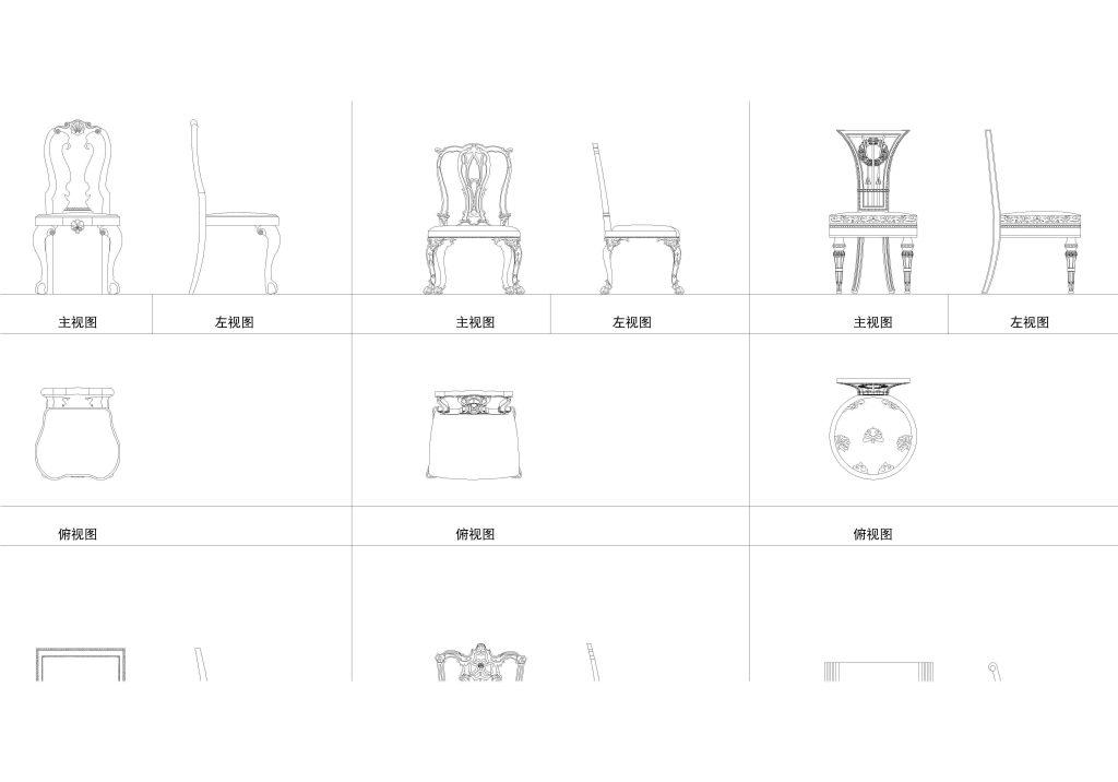 欧式家具cad模型 cad平面带立面