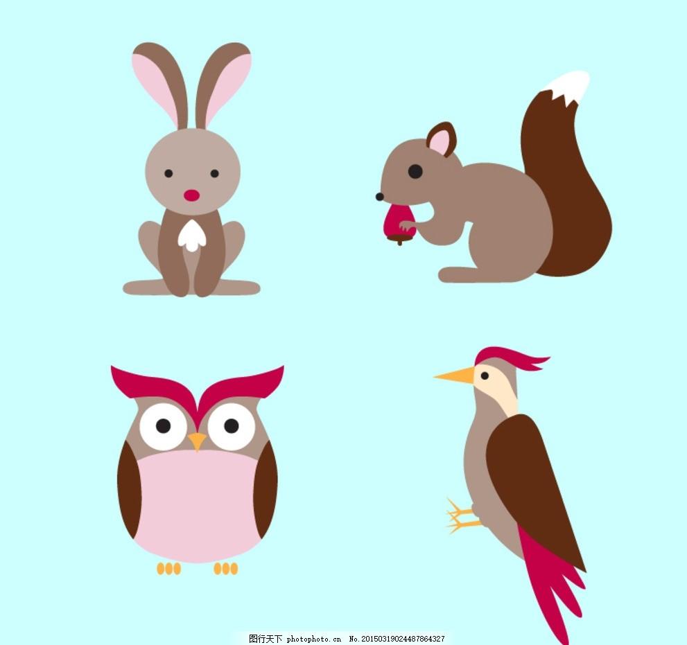 卡通森林动物矢量素材