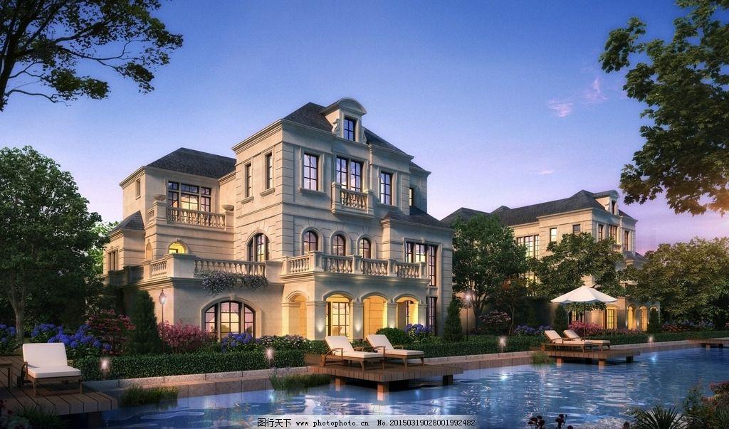 别墅 夜景 欧式        景观 设计 环境设计 建筑设计 72dpi jpg