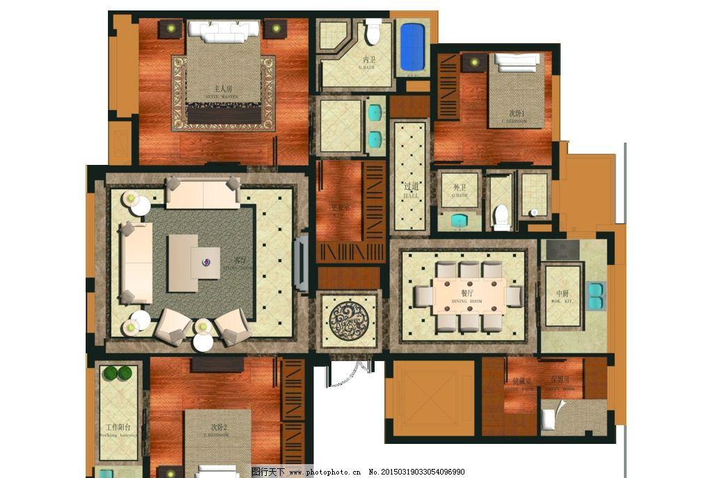 房地产户型分层psd 家装平面图 彩色 平面效果图 深色 户型彩图