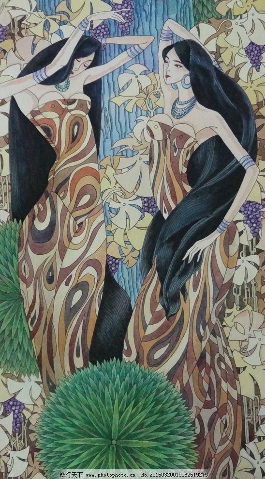 人物装饰画 美女 长发 客厅画 线描图 水彩画 彩色画 抽象装饰画